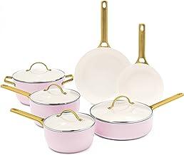 GreenPan Pavoda Ceramic Nonstick Cookware Pots and Pans Set, 10 Piece, Blush Pink