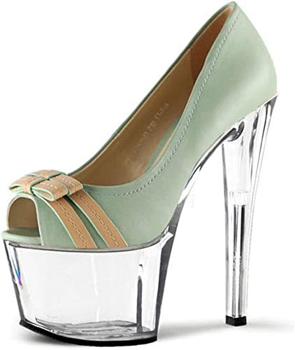 Elegant high chaussures Femmes Talons Hauts Dance Crystal Peep Toe 17cm Fine with Fish Mouth Bow