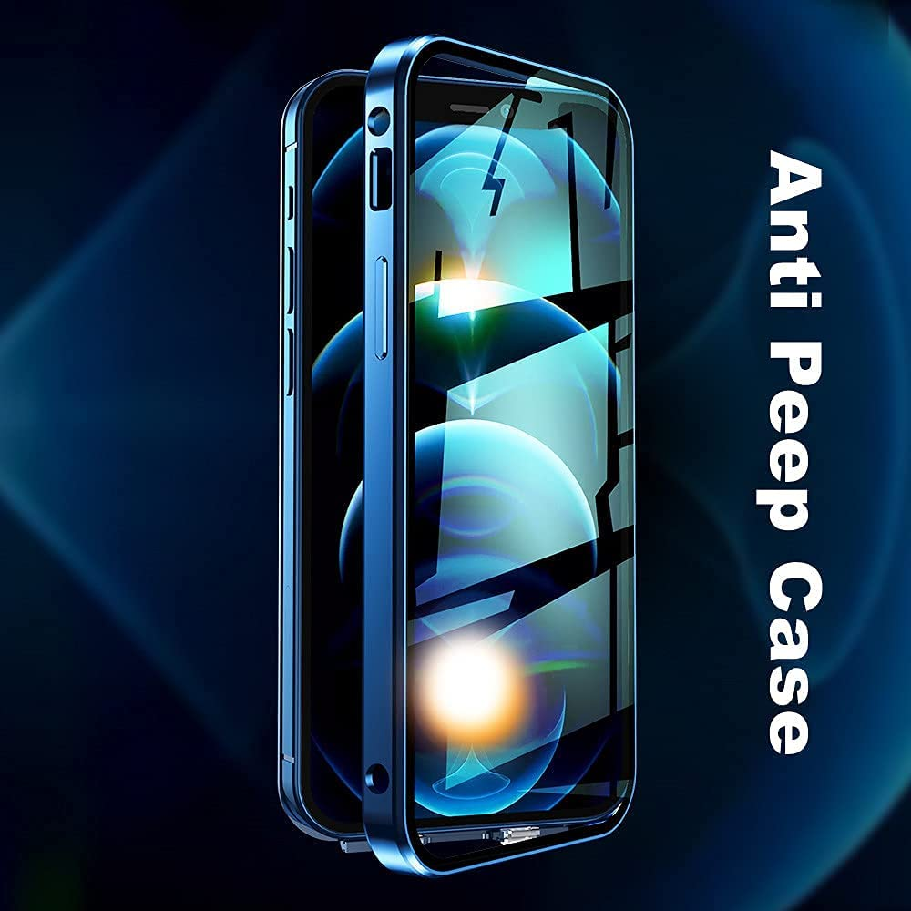 iPhone 12 Pro Max Privacy Case with Screen Protector, Camera Lens Protector, Anti Peep Shockproof Clear Phone Case with Anti Peeping Double-Sided Safety Buckle (iPhone 12 Pro Max, Black)