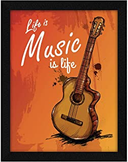 ArtX Paper Inspirational Quote Life Is Music Wall Art, Multicolor, Motivational, 10.5X13.5 in, Set of 1