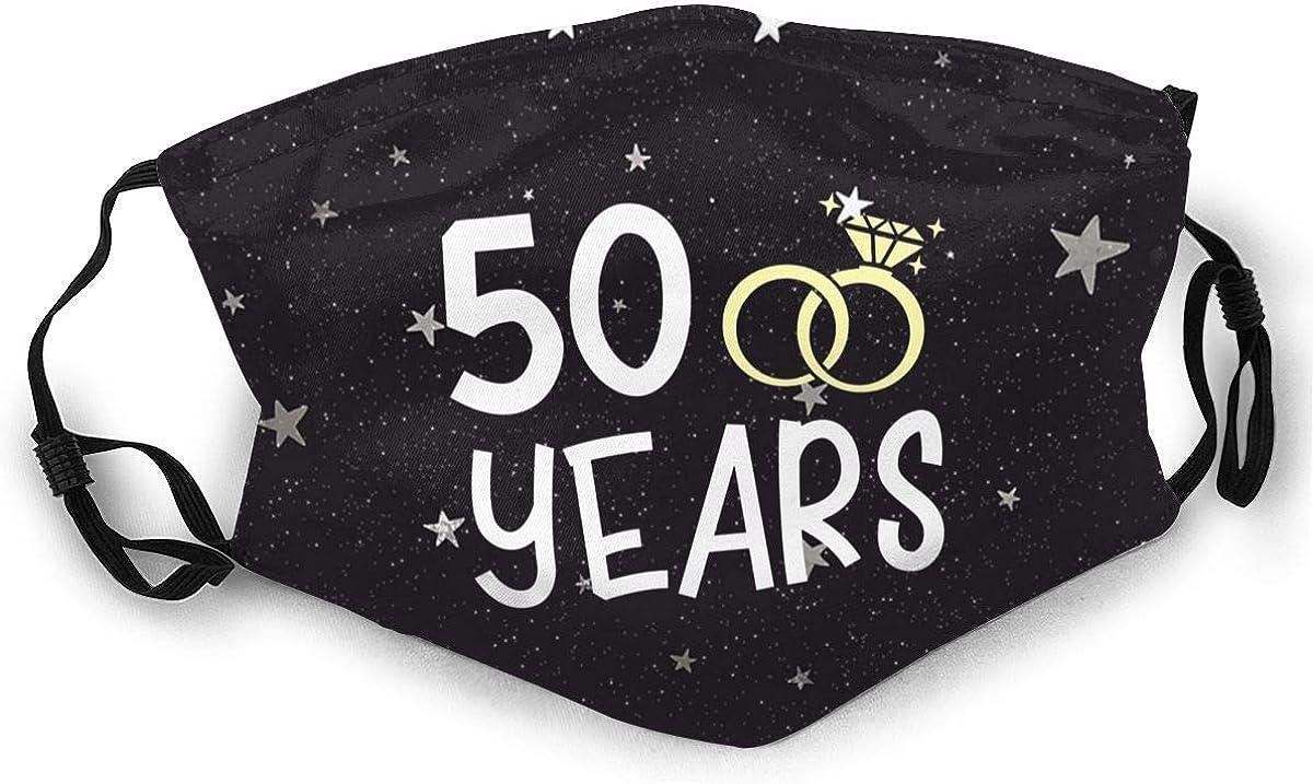 50th Wedding Anniversary Face Mask Washable Reusable Adjustable Bandanas Breathable Balaclava for Removable Filter