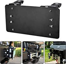 RUGCEL Black License Plate Bracket Flip-Up Roller Fairlead Mounting Holder