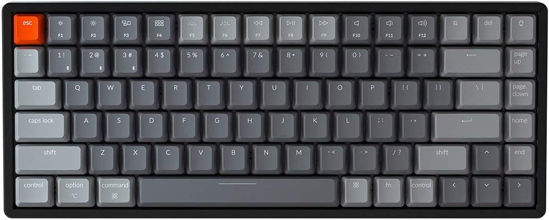 Keychron K2 Wireless Bluetooth/USB Wired Gaming Mechanical Keyboard, Compact 84 Keys Tenkeyless RGB LED Backlit Aluminum Frame for Mac Windows, Gateron Blue Switch, Version 2