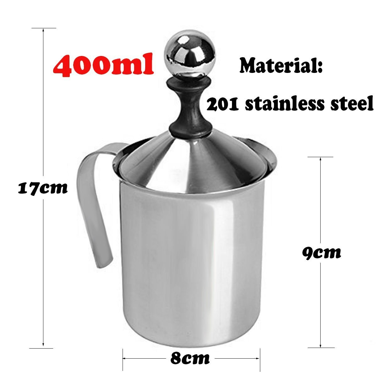Manual Milk Frother, Stainless Steel Hand Pump Milk Foamer, Handheld Milk Frothing Pitchers,Manual Operated Milk Foam Maker For Cappuccions and Coffee Latte 14-Ounce/400ml