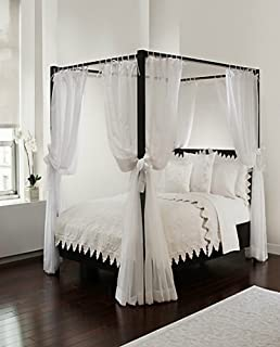 Royale Linens Canopy Set with Top Ties and Tie Backs, White Sheer, for All Bed Sizes