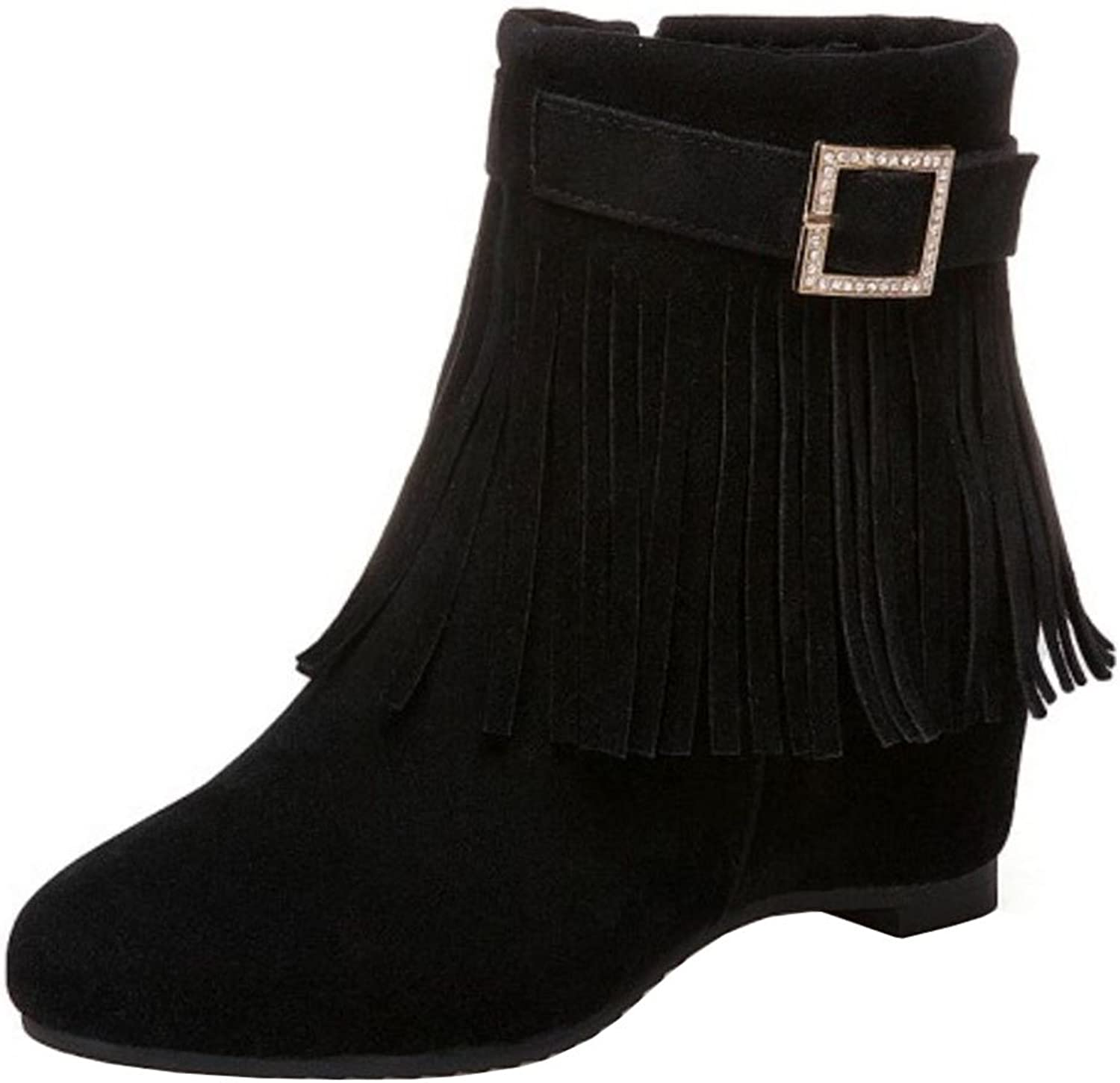 Melady Women Casual Fringe Boots Ankle High Booties Flats Zipper Grey Size 43