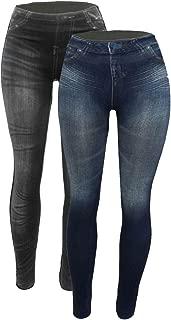 Women's Denim Print Fake Jeans Seamless Fleece Lined...