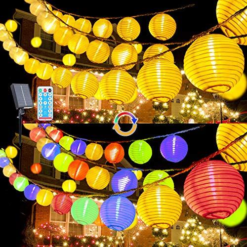 Guirlande lumineuse solaire 10 m avec 40 lampions LED blanc chaud et multicolore, étanche, intensité variable pour balcon, jardin, terrasse, mariage