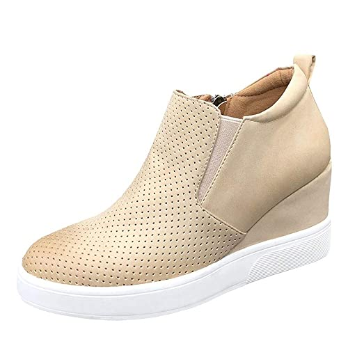 f1bb5502b37f Womens Wedge Platform Sneakers Ankle Booties Heel Zipper Faux Leather  Comfort Casual Shoes