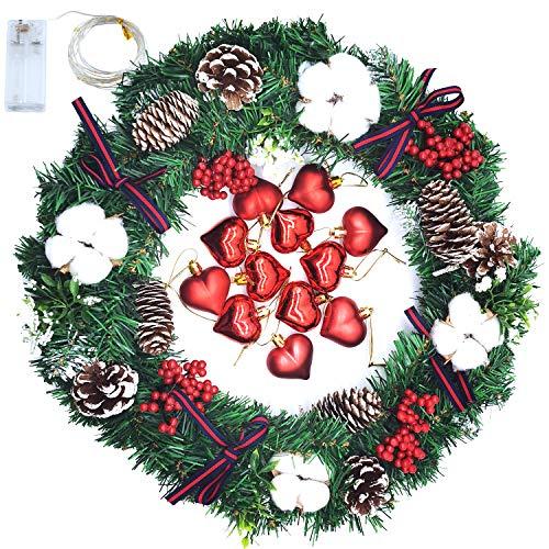 Qingxian 40cm Adventskranz Künstlich Mit 20 Warm Weißen Led Weihnachten Dekoration Kranz Hängend Türkranz Modern Wandkranz Deko