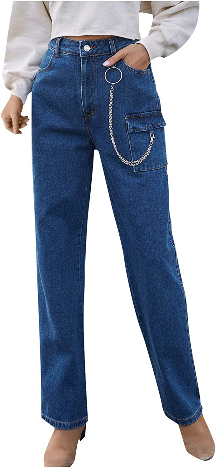 Kinsaiy Jeans for Women High Waisted Stretch,Loose Pocket Chain Jeans Straight Leg Long Pants Casual Bootcut Trousers