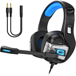 Chououkiu Stereo Gaming Headset for PS4 Xbox One PC, Surround Sound Over-Ear Headphones with Noise Cancelling Mic, LED Lig...