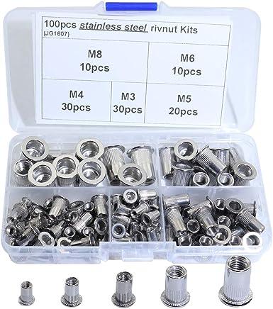 Akozon Rivet Nuts 86pcs//set M3-M8 Blind Threaded Insert and Rivet GunTool Rivnut Nutsert Riveting Kit