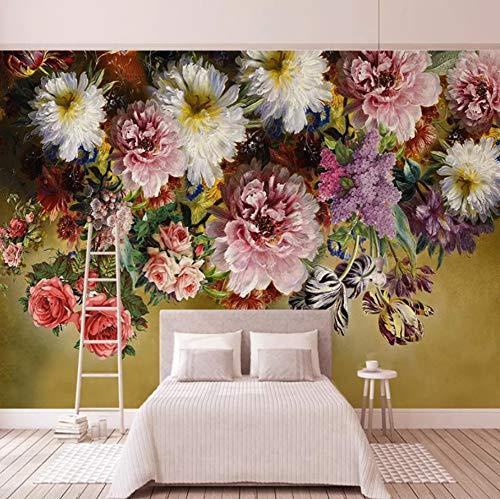 VVNASD 3D Aufkleber Dekorationen Wand Tapete Wandbilder Europäischen Stil Retro Floral Blumen Wohnzimmer Sofa Schlafzimmer Dekor Kunst Mädchen Schlafzimmer (W) 250X(H) 175Cm