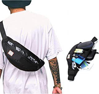 SYCNB Fanny Pack for Men and Women Hip Pack Bum Waist Bag with Adjustable Belt Large Capacity Waterproof Nylon Travel Pocket for Hiking Sport Black