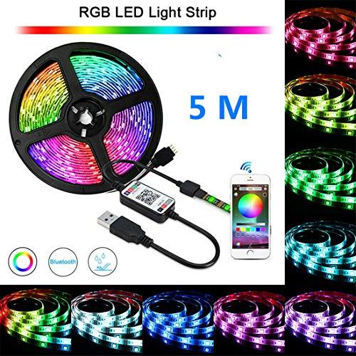 LED-Lichtleisten 5M-Streifen Beleuchtungsset Wasserdichte Fernbedienung Flexible Klebebandlampe , für die Weihnachtsdekoration in der Küche zu Hause [Energieklasse A +]