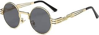 Steampunk Sunglasses Luxury Men Round Sun glass Coating Glasses Metal Vintage Retro Lentes of Male 16 colors