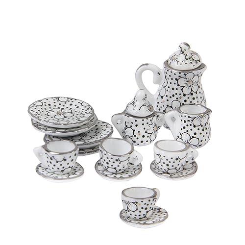 16pcs Miniature Silver Metal Tea Coffee Serving Set Tableware 1:12 Dollhouse