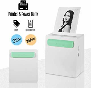 Aibecy PeriPage A8 Portable Mini Photo Printer, Wireless BT Thermal Printer with Power Bank Function, Receipt Label Memo Sticker AR Photo Picture Printer for Android iOS Smartphone Windows, 203DPI