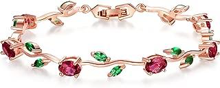 Lovely Rose Gold Plated Bracelet Rose Tennis Bracelet Link Bracelet AAA Cubic Zirconia Gemstone Flower Vine 7 Inches Bracelet for Mothers Girls Girlfriends
