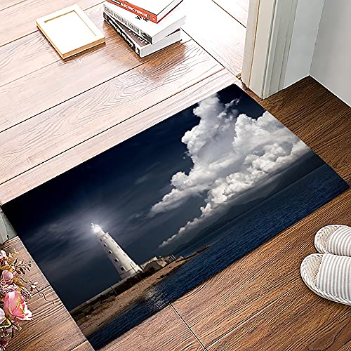 OPLJ Strand Leuchtturm Seestern Möwe Anti-Rutsch-Fußmatte Schlafzimmer Küchenmatte Bad Teppich Home Fußmatte für Eingangstür A2 50x80cm