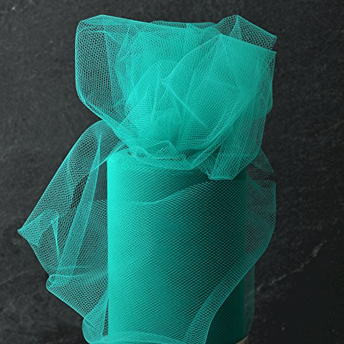6 Inch x 25-yards Craft Tulle Roll for Wedding Decoration, 1 Roll, Teal, MOR-1365