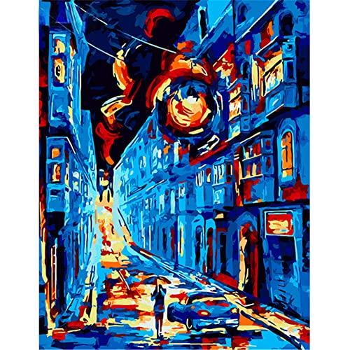 Pintar por Números Kits,Pintar por Numeros para Adultos Niños Escena callejera de pintura al óleo DIY Conjunto Completo de Pinturas para el Hogar Decoraciones-With_Framed_50x65cm E2898