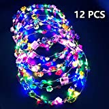 LED Blumenkranz Stirnband 12PCS - Garland Stirnband Leucht Bunt LED Stirnband Kopfbedeckung Floral...