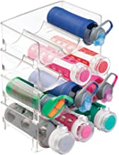 mDesign Modern Plastic Stackable Vertical Standing Water Bottle Holder Stand - Storage Organizer for Kitchen Countertops, Pantry, Fridge - Each Rack Holds 3 Containers, 4 Pack - Clear