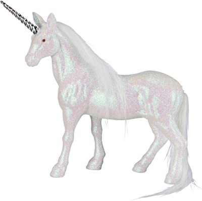 "By Kathy Magical Unicorn Styrofoam Figurine Coated with White Glitter 6"" x 6"""