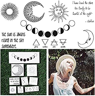 Tattify Moon Themed Temporary Tattoos - Night and Day (Set of 18 Tattoos - 2 of each Style) - Individual Styles Available and Fashionable Temporary Tattoos