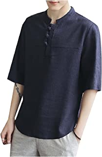 Howme Men's Tee Plus Size Mandarin Collar Linen Short Sleeve Top Shirt
