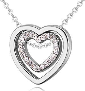 Peora Silver Rhodium Plated Valentine Love Double Heart Crystal Pendant Necklace for Women Girls