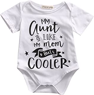 04a5a261d47b Gaono Newborn Baby Auntie Letter Print Short Sleeve Romper Infant Summer  Clothing