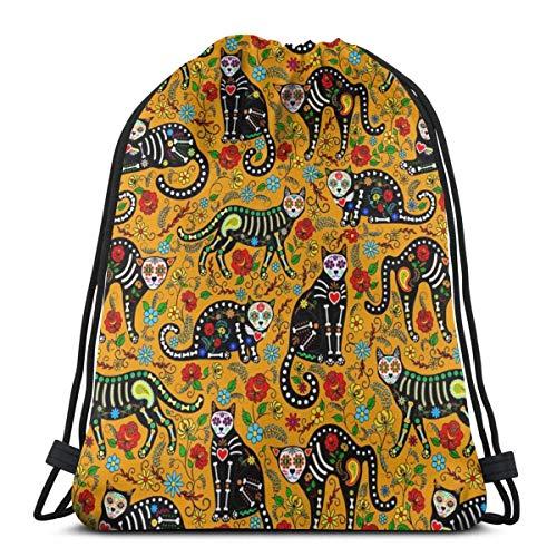 CherishU Unisex drawstring backpack Mexican Sugar Skull And Black Cats Outdoor light drawstring bag, gift bag