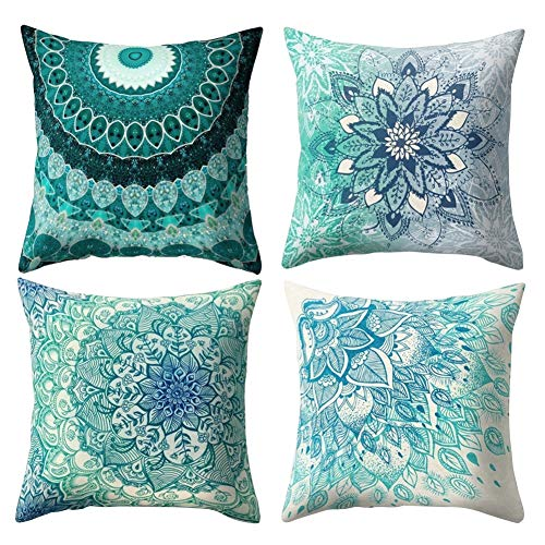 Set of 4 Mandala Throw Pillow Covers 18x18 Inches, Decorative Square Pillowcases Zippered Cushion Cover for Sofa Couch Chair Bed Car Farmhouse Home Décor