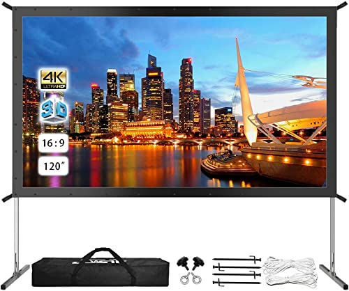 Projector Screen with Stand, Rear Projector Screen 120 inch 4K HD Outdoor/Indoor Portable Projector Screen 16:9 Folda...