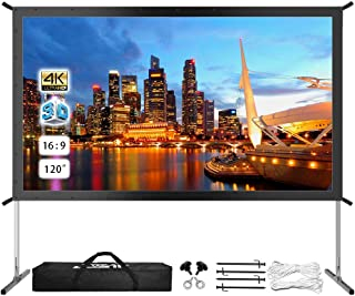 "Projector Screen with Stand, Upgraded 120"" 4K HD Outdoor/Indoor Portable Projector Screen 16:9 Foldable Movie Projection Screen with Carry Bag for Home Theater Camping Gaming Backyard Movie"