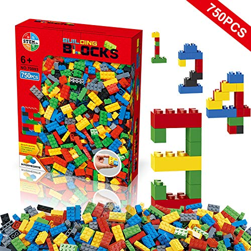 Building Blocks 750 Pieces Set Building Bricks Creative DIY Interlocking Toy Set Random Colors Mixed Shape ABS Puzzle Construction Toys Set for Kids and Toddlers Age 6750 PCS