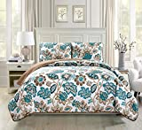 Mk Collection 3pc Bedspread Coverlet Quilted Floral Off White Green Brown King/California King Over Size 118' x 95' #Venice New