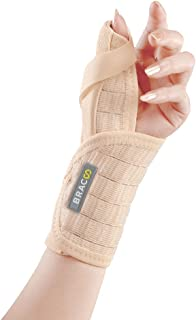 Bracoo Wrist Brace with Thumb Stabilizer, Removable Orthosis for Chronic Tenosynovitis, Carpal Tunnel Syndrome Relief, Sprains (Left Hand), TP31, 1 Count