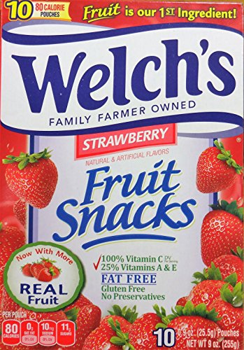Welch#039s Strawberry Flavor Fruit Snacks 10 Pouches 2 packs