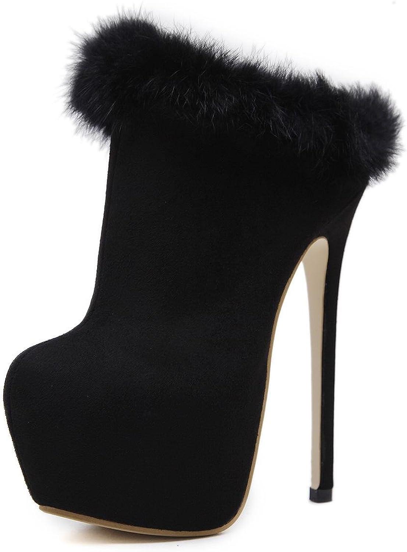 Elobaby Damen Stiefel Winter Fashion Fleece Casual High Heels Pelz Schwarz
