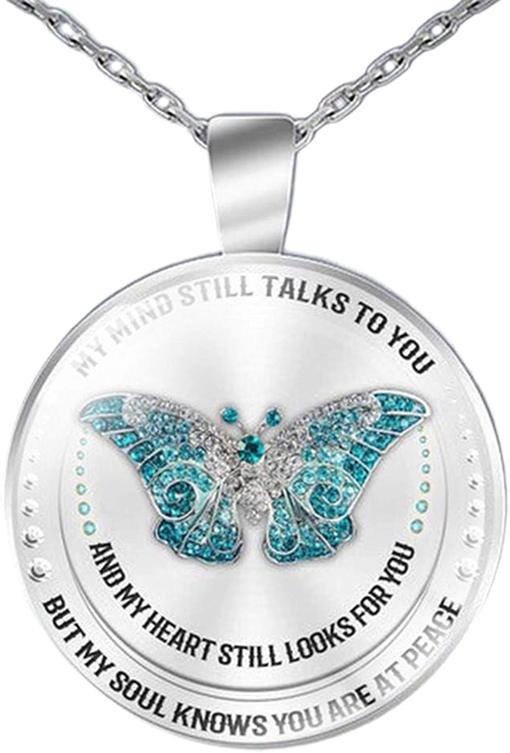 Unisex Necklace My Mind Still Talks To You Time Glass Pendant Jewelry Chain Gift for Women Girls Teens