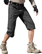 FREE SOLDIER Men's Capri Shorts Pants Casual Loose Fit Water Resistant Work Hiking Shorts Multi Pockets Tactical Cargo Shorts