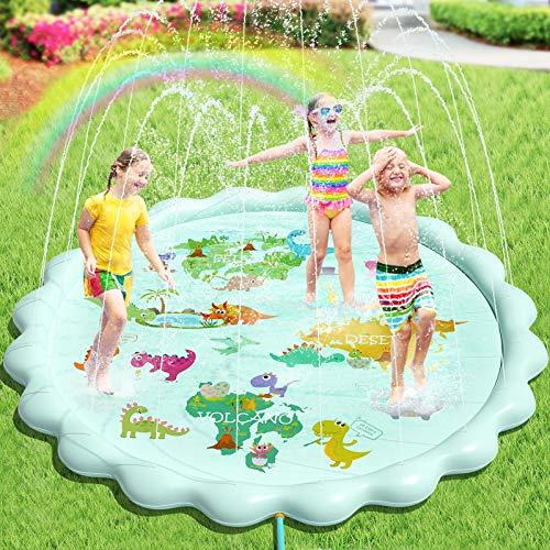 Peradix Splash Pad,200 cmTapete de Agua Chapoteo,Almohadilla Aspersor de Juego PVC, Salpica de Jueg Agua para Actividades Juegos Aire Libre para Niños Familiares/Playa/Jardín (Verde)