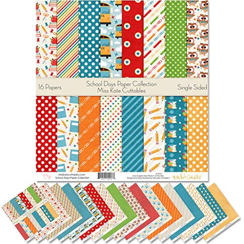 Pattern Paper Pack - School Days - Scrapbook Premium Specialty Paper Single-Sided 12'x12' Collection Includes 16 Sheets - by Miss Kate Cuttables