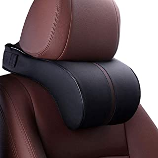 HomDSim Car Seat Neck Support Pillow,PU Soft Leather + Memory Foam,Head Support Pillow Cushion Pad for Driving Headrest Re...