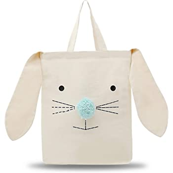 Easter Bunny Tote Bag Rabbit Canvas Tote Bag for Kids, Easter Gift Bag Egg Hunts Carry Basket Handbag with Bunny Ear and Nose for Party,School,Daily Use( Canvas Tote Bag)