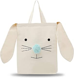 Cat Tote Bag Rabbit Bunny Nature Canvas Cotton Tote Bag for Kids, Unicorn Birthday Gift Handbag with Bunny Ear and Nose for Shopping ,School,Daily Use